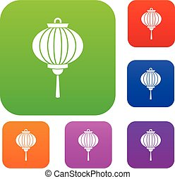 Red chinese lantern set color collection