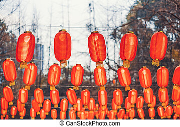 Red chinese lanterns hanging in a park