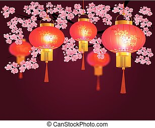 Red Chinese lanterns hanging in the park. Sakura. Round shape with patterns. Against the backdrop of pink cherry blossoms. illustration