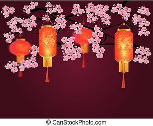 Red Chinese lanterns in a park. Cylindrical and round shape with a picture of the cock. Against the backdrop of pink cherry blossoms. illustration
