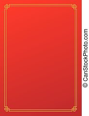 Red Chinese New Year empty background with golden border