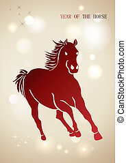 Red Chinese New Year of horse 2014 background