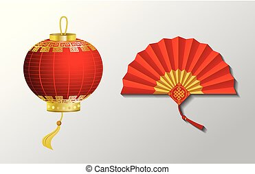 Red Chinese Traditional Paper Lantern And Fan Objects