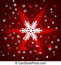 Red Christmas abstract background with snowflake confetti.