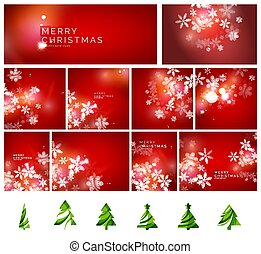 Red Christmas abstract backgrounds set with snowflakes and green pine trees