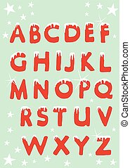 Christmas alphabet hung with snow