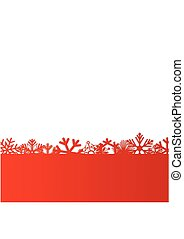 Red Christmas and New Year background with snowflakes for text. Vector Illustration