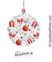 Red Christmas and New Year bauble decoration - Merry...