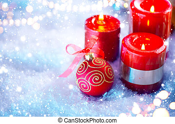 Red Christmas and New Year decoration over white background