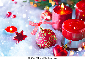 Red Christmas and New Year decorations over white snow background