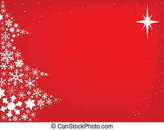 Red Christmas Background - Red background with snowflakes in...