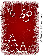 Red Christmas background with bolls and tree