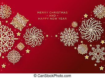 Red Christmas Background with Border made of Cutout Gold glitter Snowflakes. Chic shining Christmas Greeting Card. Vector illustration.