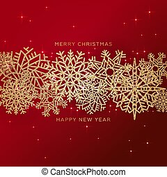 Red Christmas Background with Border made of Cutout Gold glittering confetti Snowflakes. Chic shining Christmas Greeting Card.