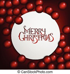 Red christmas background with bright baubles and christmas tree