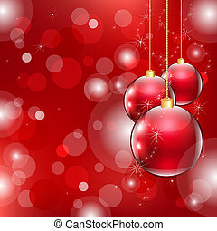 Red Christmas Background With Christmas Ball