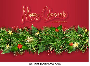 Red Christmas Background with Christmas Tree Branches