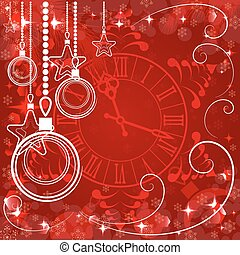 red Christmas background with clock , vector illustration