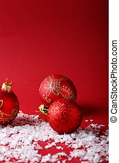 Red christmas background with decorations