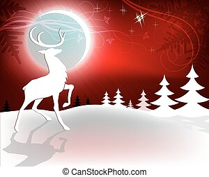 Red Christmas background with deer