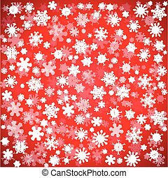 Red Christmas background with different snowflakes