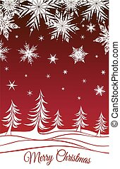 Christmas background with fir-trees and snowflakes