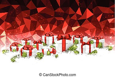 Red Christmas background with gifts.