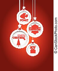Red Christmas background with hanging baubles