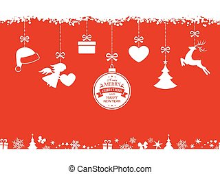 Red Christmas background with hanging ornaments and border
