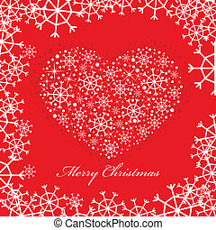 red christmas background with heart