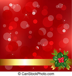 Christmas Background With Holly Berry And Bokeh, Vector Illustration