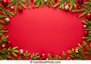 Red christmas background with oval frame