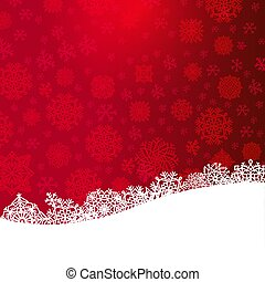 Red Christmas background with paper cut white snowflakes