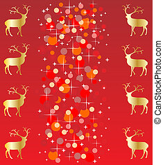 Red christmas background with reindeer vector illustration...