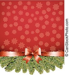 Red christmas background with ribbon and branches. Vector.