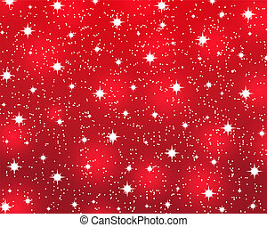 Red Christmas background with shiny stars