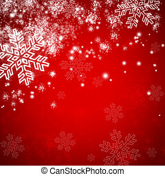red christmas background with snow and snowflakes
