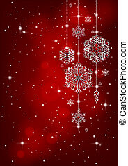 Red Christmas background with snowflake decoration