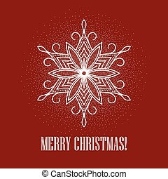Red Christmas background with snowflake. Vector illustration