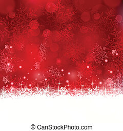 Red Christmas background with snowflakes and stars - Shiny...
