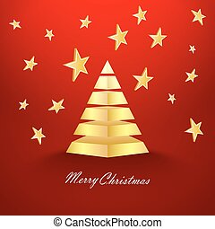 Red Christmas background with stars and gold pyramid