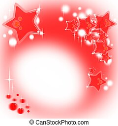 Red Christmas background with stars and shining bubbles