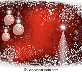 red christmas background with white balls and graceful snowflakes
