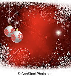 red christmas background with white balls