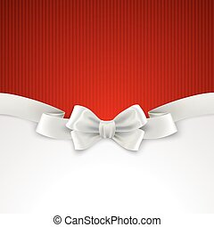 Red Christmas background with white silk bow Vector...