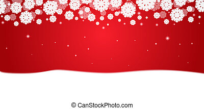 Red Christmas Background with white snowflakes and snow border.