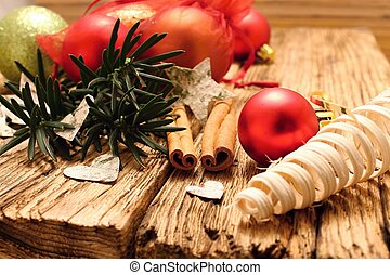 Red christmas ball and birch bark hearts