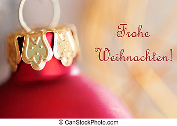 Red Christmas Ball Decoration with Frohe Weihnachten