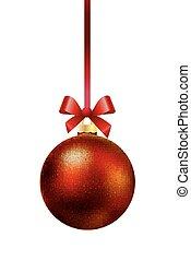 Red Christmas ball hanging on a rib