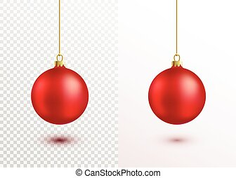 Red christmas ball hanging on gold string isolated on white background
